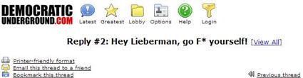 Democratic Underground Sends A Message To Joe Lieberman