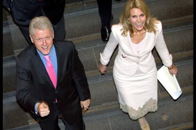 Bill Clinton pictured with Danish Member of Parliament and newly elected leader of the Danish social-democratic party (Socialdemokraterne), Helle Thorning-Schmidt.