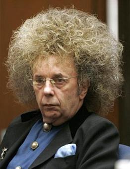 Music producer Phil Spector is shown in Superior Court judge Monday, May 23, 2005, in Los Angeles. A judge said Monday, he will allow four of 10 incidents of evidence in Spector's murder trial that prosecutors say illustrate the music producer's history of pulling guns on women. Spector is on trial for the Feb. 23, 2003, fatal shooting of B-movie actress Lana Clarkson. (AP Photo/Damian Dovarganes)