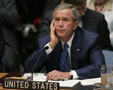 President Bush attends a Security Council meeting at the World Summit at the United Nations headquarters in New York Wednesday, Sept. 14, 2005. (AP Photo/Susan Walsh)