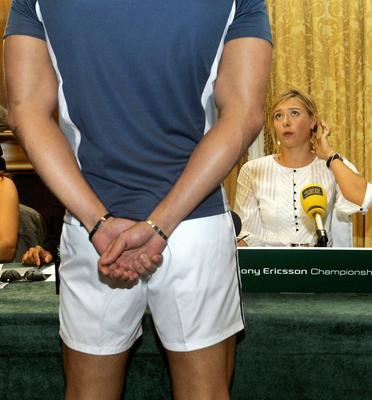 Tennis star Maria Sharapova at a press conference for the Sony Ericsson Championship