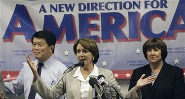 House Democratic leader, Rep. Nancy Pelosi, D-Calif., speaks at a news conference in Portland, Ore. Thursday, Oct. 12, 2006. Pelosi is stumping for Oregon's Democratic congressional candidates. Rep. David Wu, D-Ore., and Rep. Darlene Hooley, D-Ore.,are seen in the background. (AP Photo/Rick Bowmer)