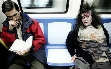 Zombie pride : A woman dressed up as a zombie in Madrid's underground poses during the first parade to celebrate the