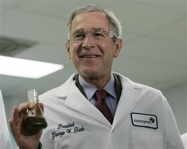 President Bush speaks to reporters while observing ethanol production during a tour of Novozymes North America, Inc., a biotechnology company which produces enzymes for industrial use, Thursday, Feb. 22, 2007, in Franklinton, N.C.. (AP Photo/Charles Dharapak)