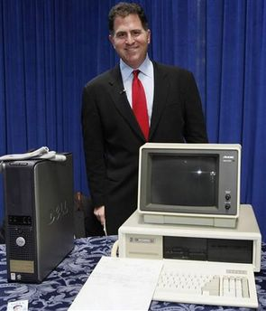 Michael Dell, chairman and CEO of Dell Inc., poses during a ceremony where he donated a collection of materials relating to the company's history to the Smithsonian National Museum of American History, in Washington May 9, 2007. The items donated include a 1985 PC Limited computer (R) and a Dell OptiPlex GX520 built in 2005 at their newest manufacturing facility in the United States. (Molly Riley/Reuters)