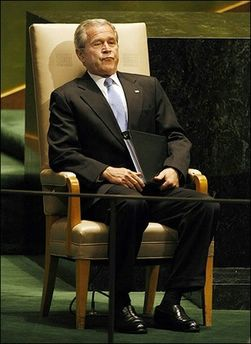 George W. Bush, President of the United States, addresses the 62nd session of the United Nations General Assembly at the UN in New York. Bush says 'nuke-you-lar' not 'nuclear,' but on Tuesday visitors to the United Nations Internet site could get a handy, abbreviated presidential pronunciation guide for other challenging words.(AFP/Timothy A. Clary)