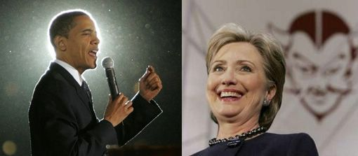 AP photos of Barak Obama and Hillary Clinton cast each in different lights