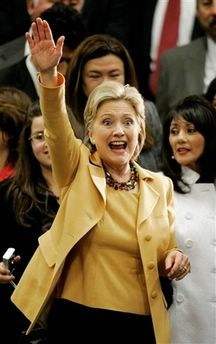 Democratic presidential hopeful, Sen. Hillary Rodham Clinton, D-NY, waves to supporters after speaking at a campaign stop in McAllen, Texas, Wednesday, Feb. 13, 2008. (AP Photo/Eric Gay)