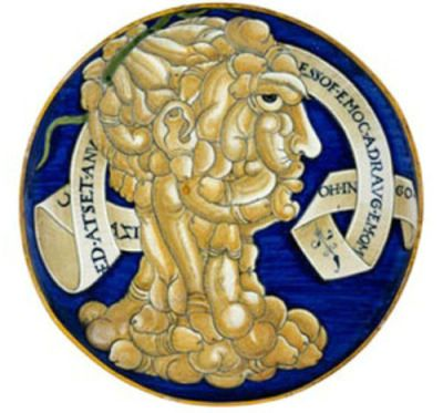 An undated handout photograph shows an Italian Maiolica plate, provided by the Ashmolean Museum in Oxford on Thursday. A leading museum has paid 240,000 pounds for a plate which shows a portrait of a man whose head is made up entirely of penises. It is thought to have been made by Italian Renaissance ceramicist Francesco Urbini in the 16th century. The head is framed by a garland carrying the inscription: Ogni homo me guarda come fosse una testa de cazi (Every man looks at me as if I were a dickhead). REUTERS/handout