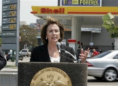 In this July 7, 2008 file photo, House Speaker Nancy Pelosi of Calif. gestures during a news conference in San Francisco to discuss gas prices. On Tuesday, July 8, 2008, Pelosi called on President Bush to release oil from the government's emergency reserve to knock down gasoline prices she says 'are helping push the economy toward recession.' (AP Photo/Paul Sakuma, File)