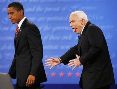 US Republican presidential nominee Senator John McCain (R-AZ) reacts to almost heading the wrong way off the stage after shaking hands with Democratic presidential nominee Senator Barack Obama (D-IL) at the conclusion of the final presidential debate at Hofstra University in Hempstead, New York, October 15, 2008. REUTERS/Jim Bourg (UNITED STATES) US PRESIDENTIAL ELECTION CAMPAIGN 2008 <br /> (USA)&#8221;/></div> </p> <p> Here are the winning entries:</p> <p><strong>1</strong>) (Baron Von Ottomatic) &#8211; &#8220;<em>Downwind from Obama the stench of Marxism and bullshit slammed into McCain like a mule kick.</em>&#8220;</p> <p><strong>2</strong>) (Stephen Macklin) &#8211; &#8220;<em>Why the F&#038;^% did I pull his finger?</em>&#8220;</p> <p><strong>3</strong>) (Pretzel Logic) &#8211;  &#8220;<em>Hey Look at Me I&#8217;m Keith Olbermann!</em>&#8220;</p> <p><strong>4</strong>) (sarahconnor2) &#8211; &#8220;<em>John McCain got a nasty shock when he got too close to Obama&#8217;s teflon shield.</em>&#8220;</p> <p><strong>5</strong>) (vader06) &#8211; &#8220;<em>Holy crap!, Did he just squeeze out an ACORN?</em>&#8220;</p> <p><strong>6</strong>) (IowaRight) &#8211; &#8220;<em>After weeks and months of unbelievable self-discipline, McCain finds in the closing days of the campaign that continuing to bite his tongue becomes more and more difficult&#8230;</em>&#8220;</p> <p><strong>The Readers Choice Award</strong> this week goes to this excellent caption:</p> <p>(JAT) &#8211; &#8220;<em>Jees I just stepped into a bunch of Marxist crap.</em>&#8221; </p> <p>That&#8217;s all for this weekend.  A new edition of the Wizbang Weekend Caption Contest&trade; will debut Friday morning.</p> <div class=