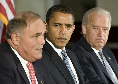 US President-elect Barack Obama (C) and US Vice President-elect Joe Biden (R) listen as Pennsylvania Governor Edward Rendell (L) speaks the National Governors Association annual meeting at Congress Hall in Philadelphia, Pennsylvania, December 2, 2008.