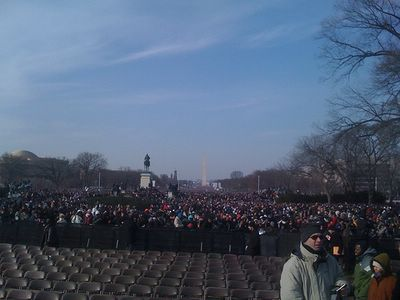 The National Mall on January 20, 2009 at the Inauguration of President Barack Obama