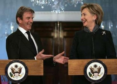 Secretary of State Hillary Rodham Clinton, right, and French Foreign Minister Bernard Kouchner take part in a joint news conference at the State Department in Washington, Thursday, Feb. 5, 2009. (AP Photo/Pablo Martinez Monsivais)