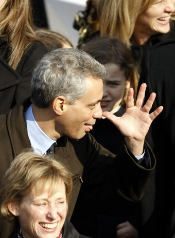 WASHINGTON - JANUARY 20: Chief of Staff Rahm Emmanuel makes a funny gesture ahead of the inauguration of Barack Obama as the 44th President of the United States of America on the West Front of the Capitol January 20, 2009 in Washington, DC.