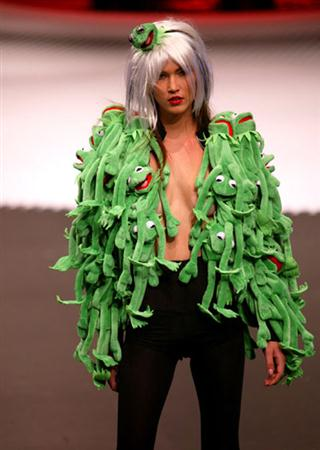 A model presents a creation by French designer Jean-Charles de Castelbajac as part of his Fall/Winter 2009/10 women's collection show during Paris Fashion Week March 10, 2009.