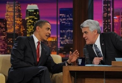 US President Barack Obama with TV host Jay Leno during a taping of 'The Tonight Show' in Burbank, California. In his first appearance on a US late night talk show since his election as president, Obama made a joke about his bowling prowess that fell flat, and may have insulted disabled people. (AFP/Mandel Ngan)