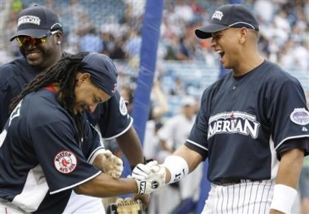 FILE- In this July 14, 2008 file photo, baseball players Manny Ramirez, left, and Alex Rodriguez share a laugh during batting practice at the Major League Baseball All-Star Home Run Derby at Yankee Stadium in New York. Ramirez was suspended for 50 games by Major League Baseball on Thursday, May 7, 2009, becoming the latest high-profile player ensnared in the sport's drug scandals.