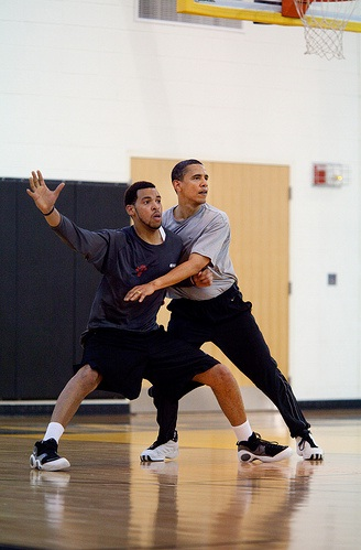 President Barack Obama plays basketball at Fort McNair in Washington, D.C. on Saturday, May 9, 2009. (Official White House photo by Pete Souza.)