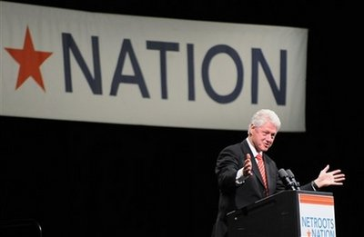 Former President Bill Clinton addresses the Netroots Nation Convention at the David L. Lawrence Convention Center in Pittsburgh, Pa., Thursday Aug. 13, 2009. Clinton says Republicans have turned to terrifying people in the debate over overhauling the health care system because the Republican Party has no political clout to fight it. (AP Photo/John Beale)