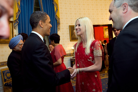 Michaele and Tareq Salahi in the receiving line in the Blue Room with President Obama.