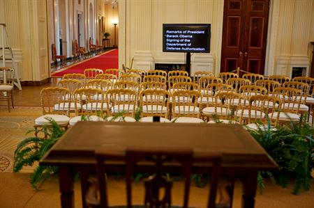 The teleprompter is seen at the back of the East Room of the White House following the signing ceremony for the National Defense Authorization Act for Fiscal Year 2010, Oct. 28, 2009. (Official White House Photo by Chuck Kennedy)
