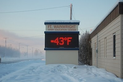 A sign shows the temperature on the Ft. Wainwright army base in Fairbanks, Alaska. (Photo and caption submitted by Laura Smerbeck)