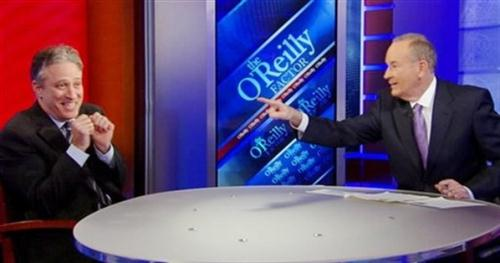 In this image taken from video and provided by the Fox News, 'The O'Reilly Factor' host Bill O'Reilly points across the table at 'Daily Show' host Jon Stewart, on the set of the 'The O'Reilly Factor,' Wednesday, Feb. 3, 2010 in New York.