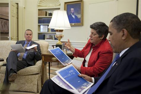 President Barack Obama meets with Homeland Security Secretary Janet Napolitano and senior administration officials, including National Security Advisor Gen. James Jones, left, in the Oval Office, regarding the situation in the Gulf of Mexico, April 29, 2010. (Official White House Photo by Pete Souza)