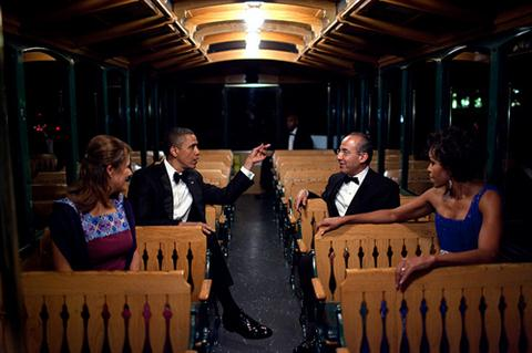 President Barack Obama, First Lady Michelle Obama, President Felipe Calderón of Mexico, and his wife, Mrs. Margarita Zavala, ride a trolley to a tent on the South Lawn of the White House, for the State Dinner reception, May 19, 2010. (Official White House Photo by Pete Souza)