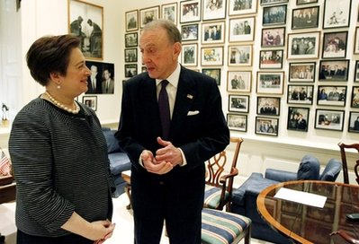 ** CORRECTS SPECTER'S PARTY AFFILIATION TO DEMOCRAT ** Sen. Arlen Specter, D-Pa., right, meets with Supreme Court nominee Solicitor General Elena Kagan on Capitol Hill in Washington Thursday, May 13, 2010. (AP Photo/Alex Brandon)