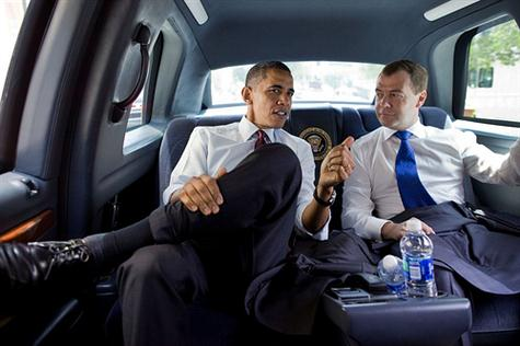 President Barack Obama and President Dmitry Medvedev of Russia ride together to lunch at Ray's Hell Burger in Arlington, Va., June 24, 2010. (Official White House Photo by Pete Souza)