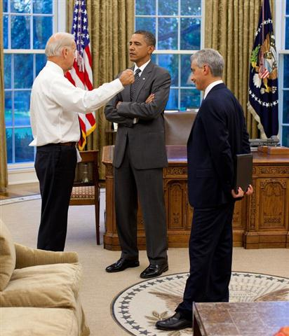 President Barack Obama talks with Vice President Joe Biden and Chief of Staff Rahm Emanuel in the Oval Office, Sept. 9, 2010. (Official White House Photo by Pete Souza)