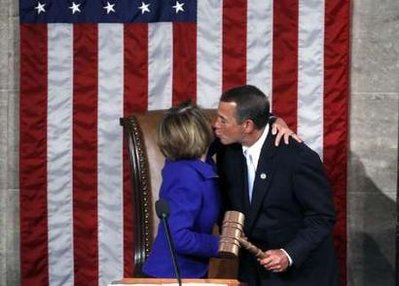 Incoming House Speaker John Boehner (R-OH) kisses outgoing House Speaker Nancy Pelosi (D-CA) after she handed over the speaker's gavel to Boehner on the opening day of the 112th United States Congress on Capitol Hill in Washington, January 5, 2011. Republicans are taking control of the U.S. House of Representatives since winning a majority in the November U.S. Congressional mid-term elections. (Reuters)