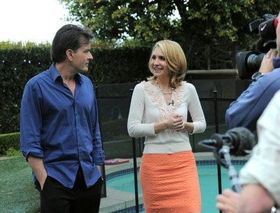 In this photo provided by ABC News, Andrea Canning interviews Charlie Sheen Saturday, Feb. 26, 2011, in Los Angeles for a Special Edition of 20/20 to be aired Tuesday. Sheen told Canning he is 100 percent clean and plans to show up for work despite CBS's pulling the plug on this season's production of 'Two and a Half Men.' (AP Photo/ABC News)