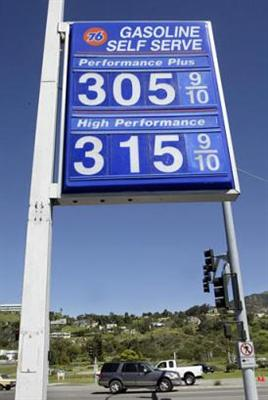 Gas prices are seen Tuesday, March 15, 2005, at a 76 gas station in Malibu, Calif. (AP Photo/Nick Ut)