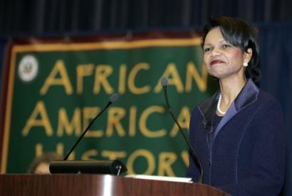 Secretary of State Condoleezza Rice pauses during a program celebrating African American History month at the State Department on Friday, Feb. 18, 2005 in Washington. Rice is the first African American woman to hold the title of Secretary of State. (AP Photo/Evan Vucci)