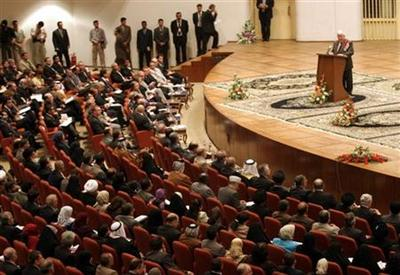 Iraq's National Assembly convenes in Baghdad, Iraq, Wednesday, March 16, 2005. Iraq's first freely elected parliament in half a century began its opening session Wednesday marking a major milestone on the road to forming a new government in the insurgent-wracked country. Kurdish delegate Fuad Masoum is at the podium. (AP Photo/Hadi Mizban)