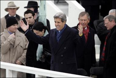 Former Democratic presidential candidate and US Senator John Kerry (news - web sites) (C) gestures during inaugural ceremonies on Capitol Hill in Washington, DC. As Republicans partied Democrats vowed not to be rolled over during Bush's second term in office(AFP/Timothy A. Clary)