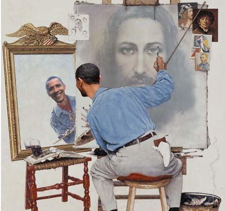 Obama paints his self portrait; Jesus appears on canvas