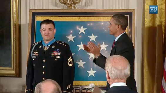 Sergeant First Class Petry is presented with the Medal of Honor