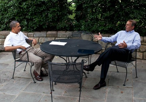 President Barack Obama meets with Speaker of the House John Boehner on the patio near the Oval Office, Sunday, July 3, 2011. (Official White House Photo by Pete Souza)