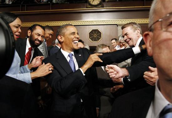 President Barack Obama arrives to deliver a speech to a joint session of Congress at the Capitol in Washington, Thursday, Sept. 8, 2011. (AP Photo/Kevin Lamarque, POOL)