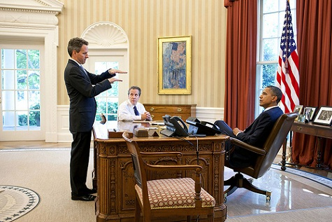 President Barack Obama meets with Treasury Secretary Timothy Geithner and National Economic Council Director Gene Sperling in the Oval Office, Aug. 5, 2011. (Official White House Photo by Pete Souza)