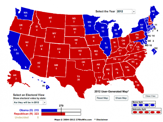 Election 2012 as of 01 FEB 12 based on Obama Approval by State