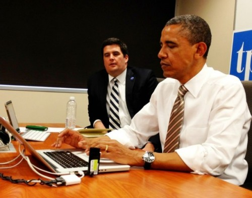 Photo of POTUS answering questions on twitter now in Iowa #whchat