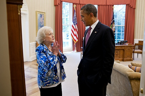 President Barack Obama talks with Betty White in the Oval Office, June 11, 2012. (Official White House Photo by Pete Souza)