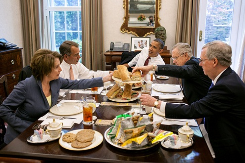 President Barack Obama has lunch with members of the Congressional Leadership in the Oval Office Private Dining Room, May 16, 2012. The President served hoagies from Taylor Gourmet, which he purchased after a small business roundtable earlier in the day. Seated, clockwise from the President, are: Senate Majority Leader Harry Reid, Senate Minority Leader Mitch McConnell, House Minority Leader Nancy Pelosi, and House Speaker John Boehner.(Official White House Photo by Pete Souza)