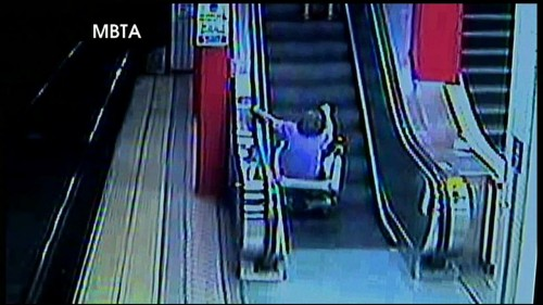 motorized wheelchair vs escalator turns out exactly as