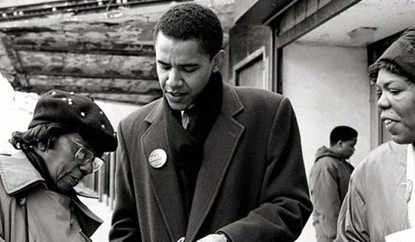 Barack Obama campaigning in Chicago in the 1990's